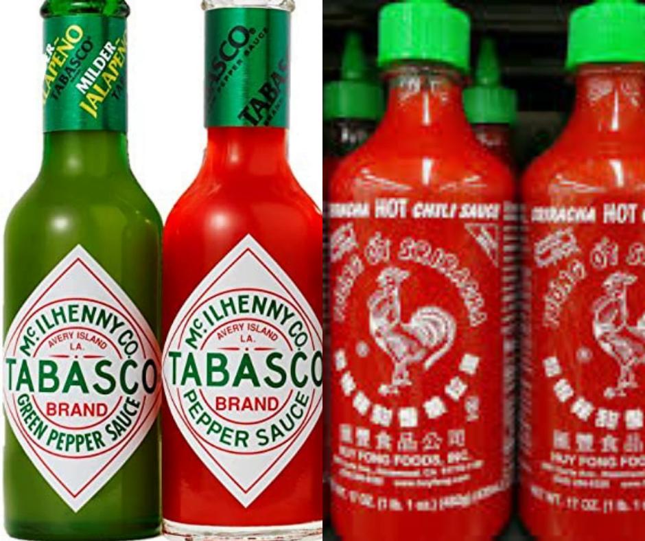 Tabasco y Sriracha